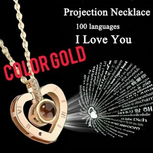 Projection necklace in 100 language I love you